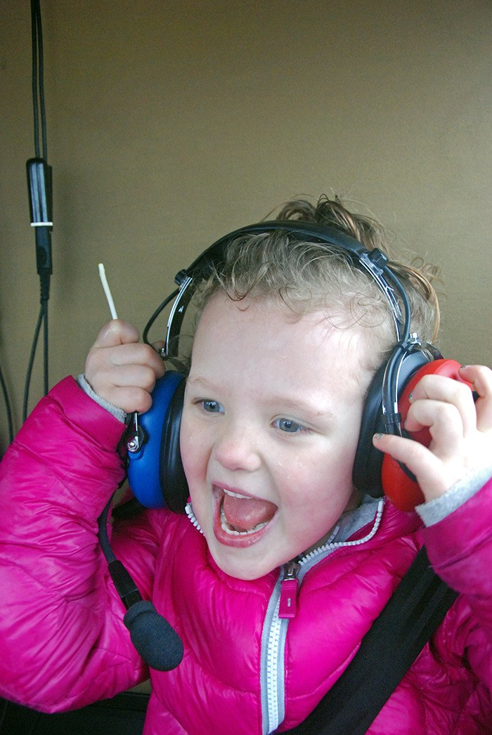 Uma Lauridsen, 4, is all smiles during her helicopter ride on Saturday, March 8.