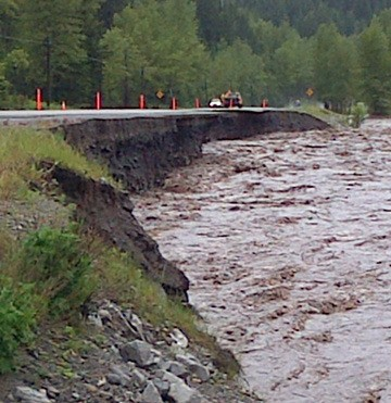 Highway 3 washout near Sparwood Thursday afternoon.