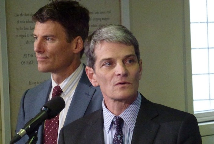 New TransLink CEO Kevin Desmond, flanked by Vancouver Mayor Gregor Robertson (left), comes here from Seattle, where he headed King County's Metro Transit.