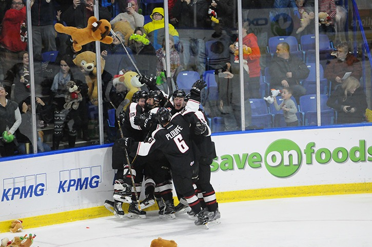 The Vancouver Giants celebrate James Malm's first period goal during Friday's WHL game against the Portland WInterhawks at the Langley Events Centre. The game was Teddy Bear Toss night.