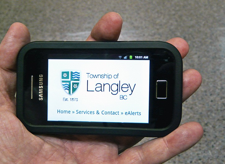 The Township of Langley has introduced a new service that lets residents get alerts sent to their  smart phones.