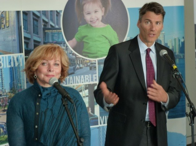 Surrey Mayor Linda Hepner and Vancouver Mayor Gregor Robertson after mayors' council tentative agreement on a first-phase transit expansion.