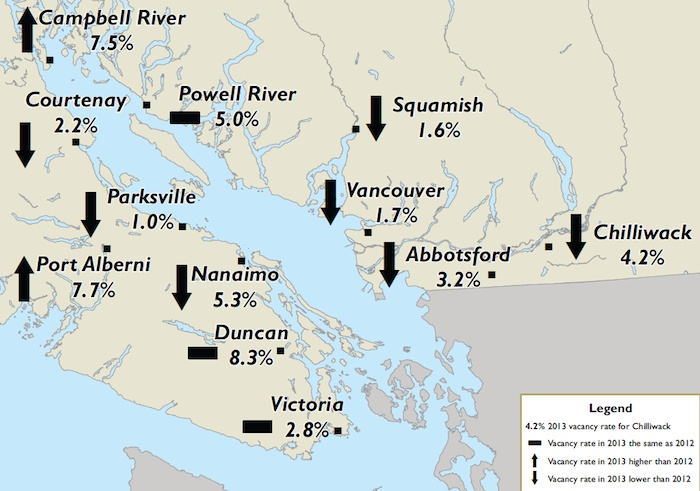 Map of vacancy rate changes in southwestern B.C.
