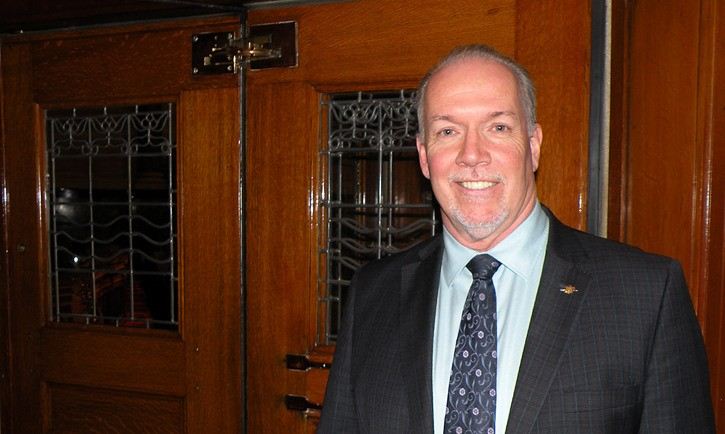 B.C. NDP leader John Horgan at the opposition doors of the B.C. legislature chamber. He hopes to use the government entrance after the May 9, 2017 election
