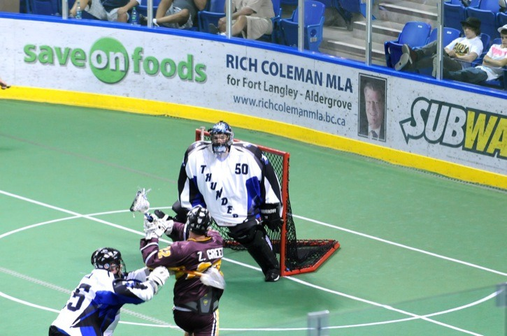 Brampton Excelsiors' Zack Greer is stopped by Langley Thunder goaltender Brodie MacDonald during game one of the Mann Cup senior A lacrosse championships at the Langley Events Centre. But Greer struck for one goal in game two as Brampton evened the series at 1-1 thanks to a 9-4 victory.