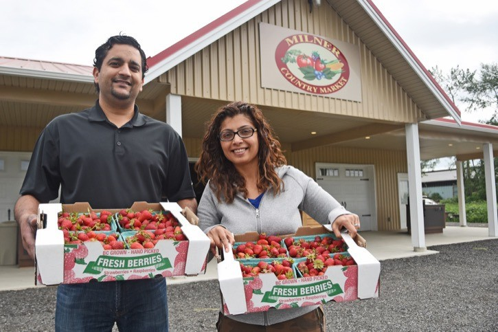 Dave and Parveen Kang celebrated opening day at Milner Country Market with free strawberries for their customers on Wednesday (May 18). The produce stand, located beside their house at 21327 Crush Cres., features fresh local produce from around the Lower Mainland, including blueberries, herbs and leafy vegetables right from their farm. The market is now open for the rest of the summer season, with future plans to be open year round.