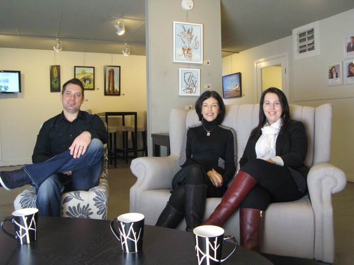Left to right: Little Oak Realty's Michael Thorne, Jorda Maisey and Trisha Bongers sit, relaxed in their boutique-style real estate office in Fort Langley. It's a paperless office. They also display local artwork including letting their featured artist use their space for free once a month. Thorne was recently recognized by Inman News as a top 100 most influential leaders.