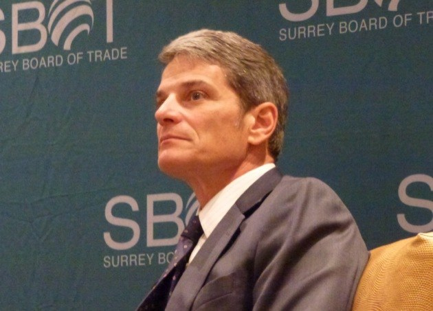 TransLink CEO Kevin Desmond in a question-and-answer session at a Surrey Board of Trade meeting Tuesday.