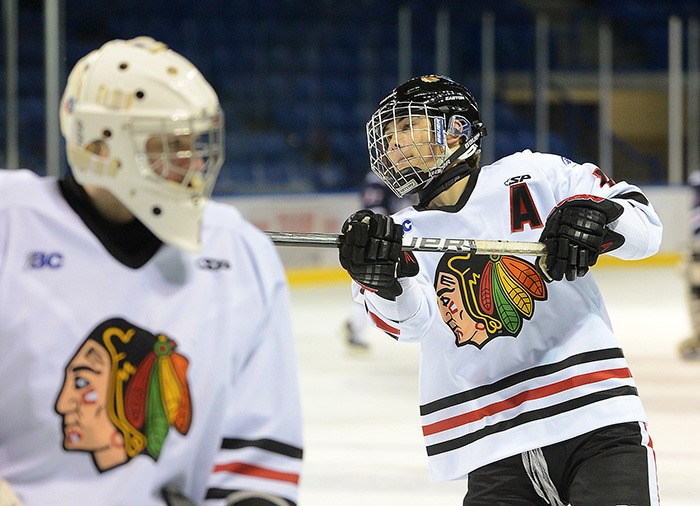 Mitch Newsome of the Valley West Hawks  scored five times in a 9-3 win over the Thompson Blazers.