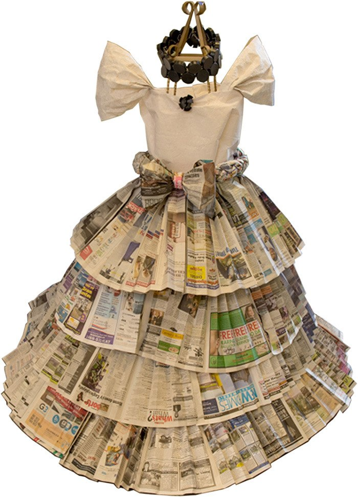 An Upcycling Design Challenge entry from last year saw old newspapers transformed into a gown.