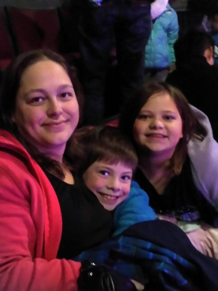 Langley's Nichole Sanders seen here with her son Wyatt, 8, and daughter Brooklyn, 10, at Disney on Ice, a favourite tradition each year. Nichole and Brooklyn were killed in a car crash near Jasper March 11. Wyatt survived the crash along with his grandmother.