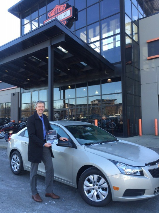 Darrell Halverson won the grand prize of a two-year lease on a 2014 Chevrolet Cruz LS, which was provided by Barnes Wheaton Auto Group . The prize helped raise $52,292 as part of their Movember efforts, more than double their goal of $25,000. This was the third year in a row Langley's Barnes-Harley Davidson was the top Harley-Davidson Movember team in Canada.