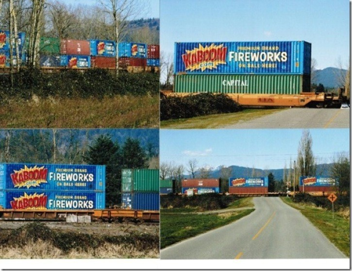 Times reader Wally Martin sent The Times these four photos of containers travelling through Langley by train on March 25. The sides of the containers advertised fireworks which may or may not have been aboard the train.