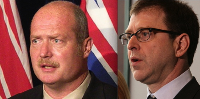 Health minister Mike de Jong (left) and NDP leader Adrian Dix (right).
