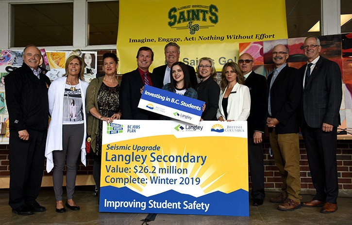 Politicians, including local MLAs Rich Coleman and Mary Polak announced seismic upgrades to Langley Secondary on Friday.