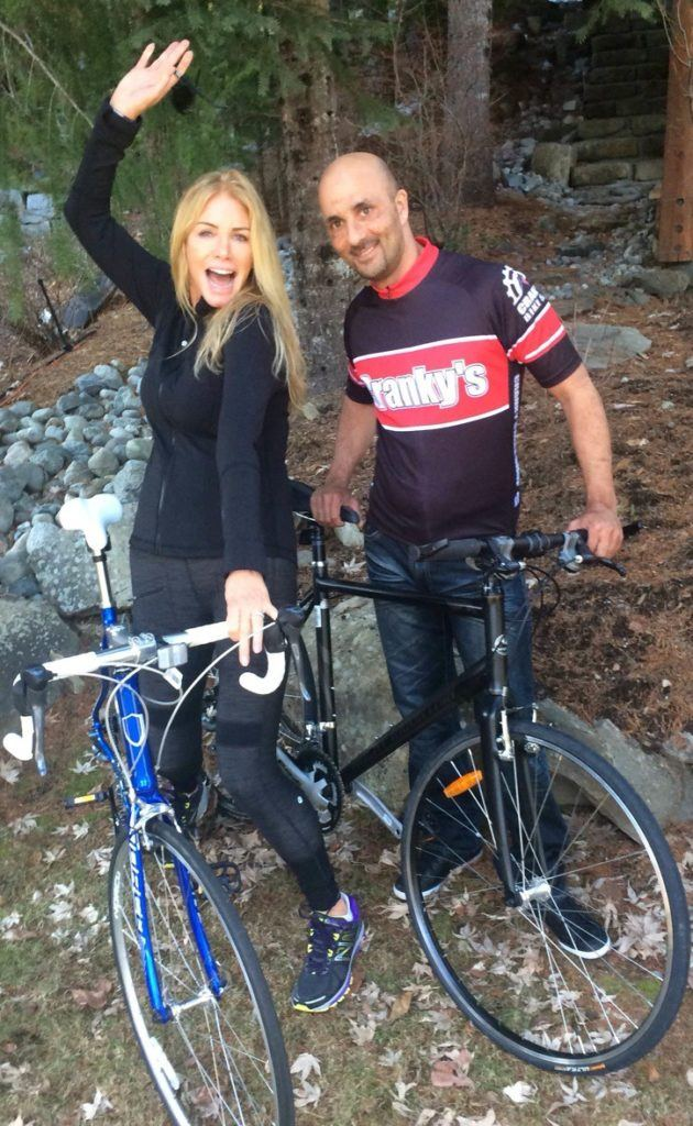 Langley's Andy Bhatti gets ready for a ride with celebrity Shannon Tweed, who will be joining Bhatti in August in Newfoundland when he cycles for awareness of childhood sexual abuse. Bhatti has won the Courage to Come Back award.