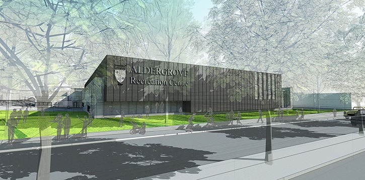 Artist's drawing of planned Aldergrove Recreation Centre.