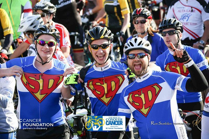 From left: Matthew Schindel, George Schindel and Reuben Kramer formed part of last year's Team Super Dave. In the last five years the Ride to Conquer Cancer team has raised $150,000 for the BC Cancer Foundation.