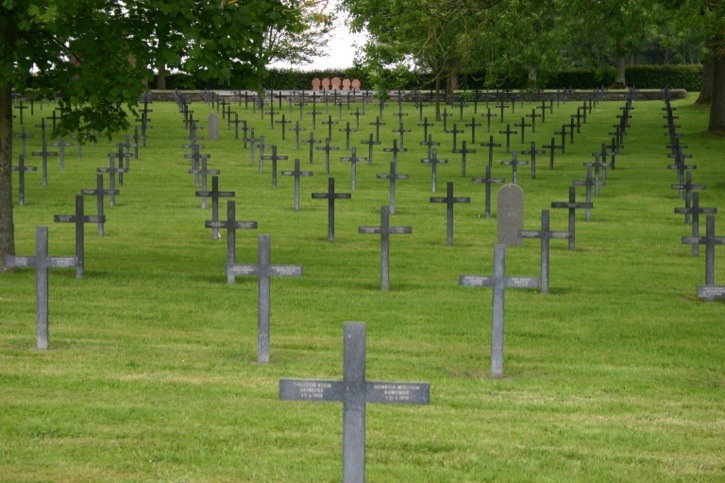 This sombre cemetery at Fricourt contains the remains of 17,000 German soldiers who perished on the Somme. 12,000 of those buried here are interred in four mass graves.