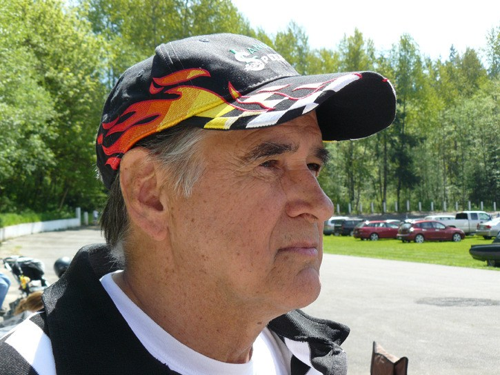 Larry Olson was the official starter at Langley Speedway before it closed. When he heard it would be used for an electric vehicle contest on  May 18, he refused to let a broken ankle keep him from waving the green and checkered flags one more time.