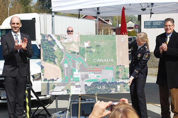 Minister of Public Safety and Emergency Preparedness Steven Blaney and Langley MP Mark Warawa unveiled plans for a $17.7 million reconstruction of the Aldergrove port of entry on Monday, April 14.