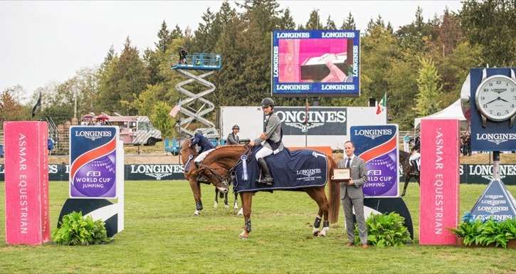 American rider Karl Cook took top spot with his 12-year-old mare Tembla on Sunday at Thunderbird Show Park's Longines FEI World Cup qualifier.