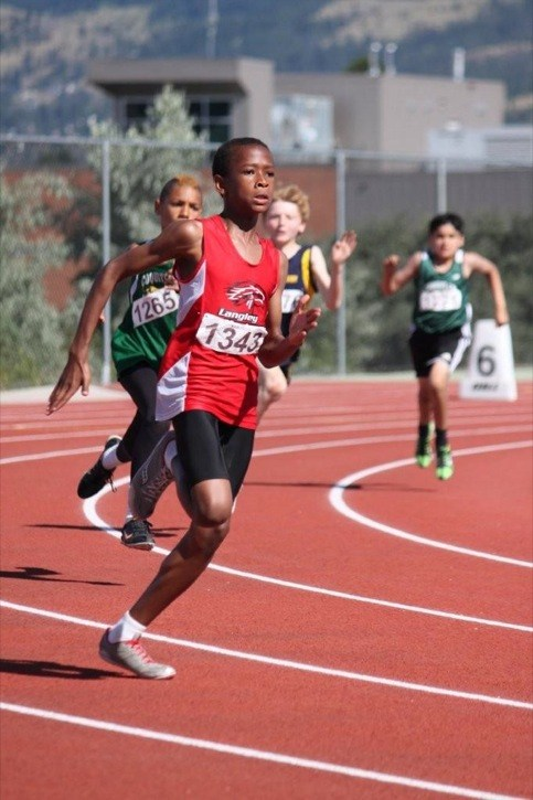 Langley Mustangs' Vaughn Taylor was dominating in the season-ending B.C. junior development track and field championships in Kamloops with six gold medals.