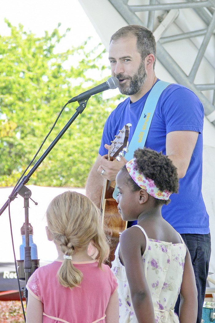 Some young fans of Will Stroet, an award-winning bilingual children's musician and educator, got to share the stage with him during a performance at Douglas Park in Langley City earlier in July.