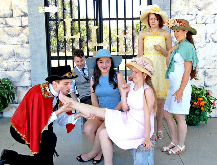 From left: Luke Stevens, Patrick McMath, Madison McArthur, Dayna Thomas, Ashlyn Tegg and Kailea De Leon rehearse Bard in the Valley's upcoming production of Love's Labour's Lost. Performances begin July 1 in Fort Langley and continue throughout July and early August at Township 7 Winery and on the Spirit Square stage.