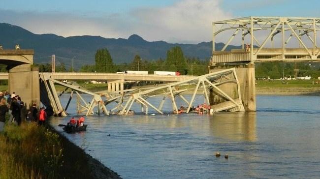 The Skagit River bridge collapse around 7 p.m. on Thursday night, near Mount Vernon, Washington.