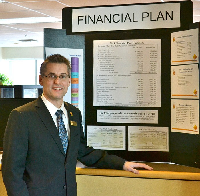 Darrin Leite presented the City's 2014 financial plan at an open house on Feb. 5.