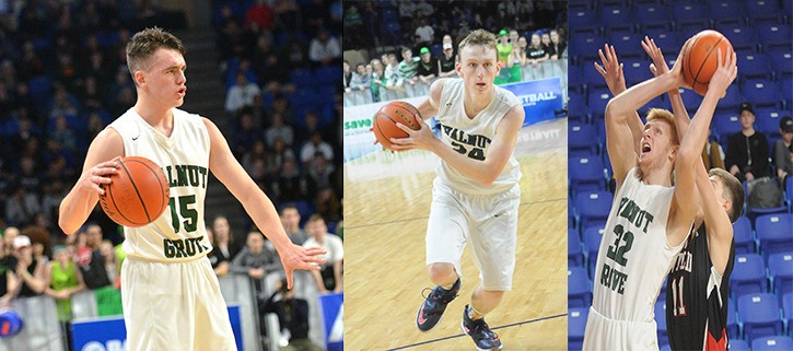Walnut Grove's Ty Rowell (left to right), Andrew Goertzen and Jake Cowley are set to suit up for the 4A provincial all-star team on Saturday in Richmond. Credo Christian's Levi Leyenhorst will play for the 1A all-star team.