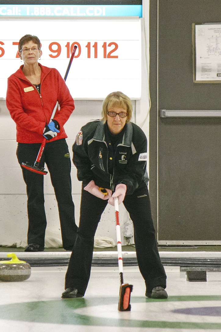 Skip Anne Knopp (front) calls for the shot during the finals of the Langley Curling Club senior ladies' Spring Fling bonspiel, which wrapped up on Sunday. Knopp's rink was up against another Langley team skipped by Colleen McDonnell. A total of 24 teams from six curling clubs took part in the three-day bonspiel, which was won by the Ann Ramsbottem rink out of Chilliwack. They beat the Knopp rink in the final.