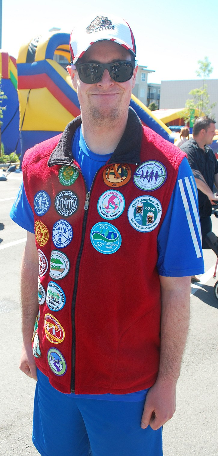 Chris Lakusta of Aldergrove has proudly walked in every Langley Walk since 2001 (except 2007) and has the collection of badges to prove it!