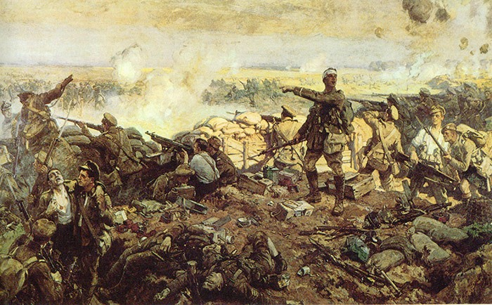 The Canadian War Memorials Fund Canadian commissioned war artist Richard Jack to paint this impression of Canadian troops at the Second Battle of Ypres in 1915.
