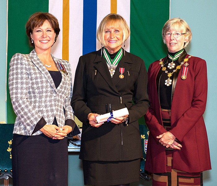 Langley's Donna Crocker, centre, received the Order of B.C. from Premier Christy Clark (left) and Lt.-Gov. Judith Guichon, Chancellor of the Order (right).