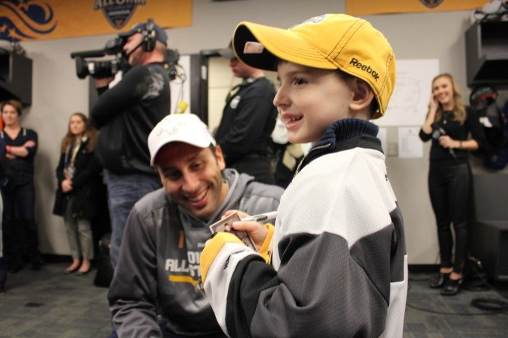 It was the thrill of a lifetime for Langley's Nevan Coburn. The six-year-old attended the 2016 NHL All-Star game in Nashville, where he got the chance to meet players such as former Vancouver Canuck Roberto Luongo and current Canuck Daniel Sedin (below). Coburn was at the game as part of the Children's Wish Foundation of Canada. Coburn was diagnosed with a rare form of cancer in 2011 but is now cancer-free. He attended the game with his parents and little brother.