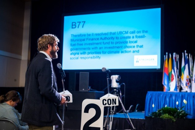 Victoria Coun. Ben Isitt speaks to resolution on fossil fuel-free investing at the Union of B.C. Municipalities convention.