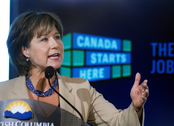 Premier Christy Clark speaks in Kamloops during her week-long tour to promote her government's jobs plan.