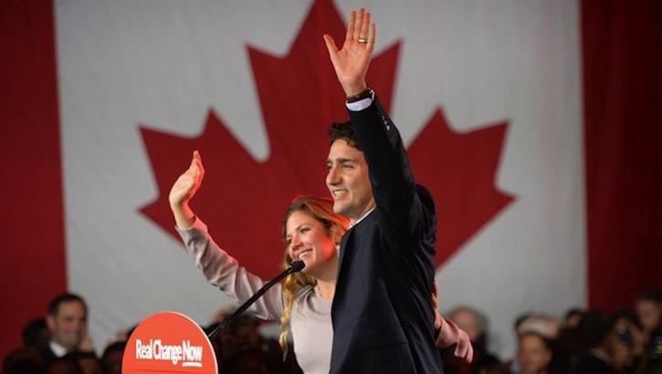 Incoming Prime Minister Justin Trudeau and wife Sophie Gregoire-Trudeau celebrate the Liberal Party's win in the 2015 Canadian federal election.