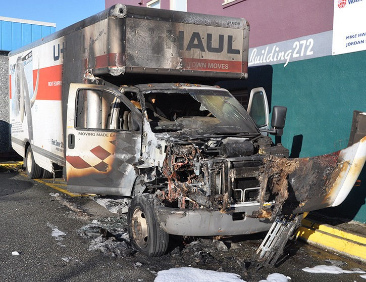 Gas thieves are the likely culprits behind U-Haul truck fire at Aldergrove Market Tuesday morning, Jan. 20 around 3 a.m.