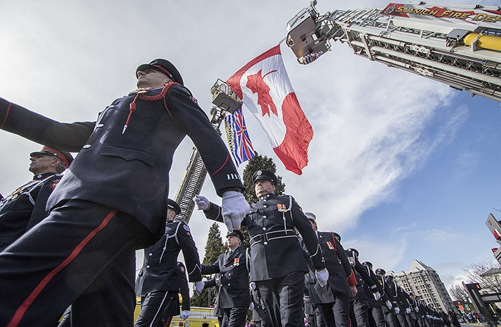 Hundreds of sombre firefighters from across British Columbia marched the streets of Victoria Monday afternoon.