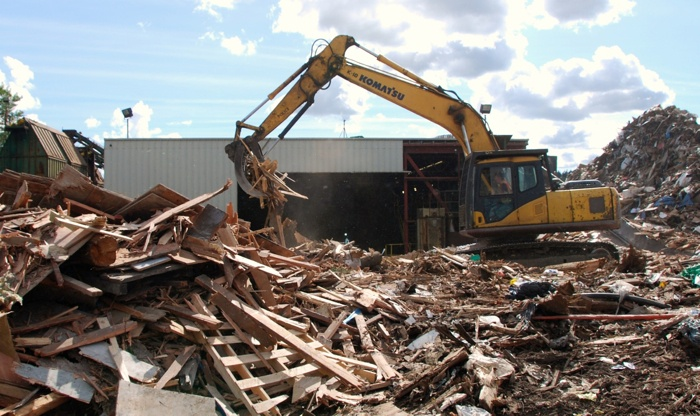 Urban Wood Waste Recyclers operation in New Westminster sorts incoming waste wood, recycles metals and other materials mixed in and processes most of the rest for either composting or fuel.
