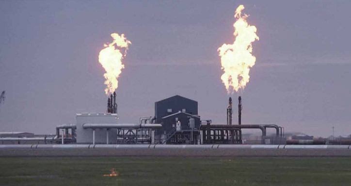 Gas is flared off at Prudhoe Bay, North America's largest oilfield, in northern Alaska.