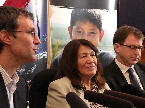 Retired hockey star Scott Niedermayer joins Ktunaxa Nation chair Kathryn Teneese and NDP leader Adrian Dix at a news conference to urge rejection of the Jumbo Glacier Resort.