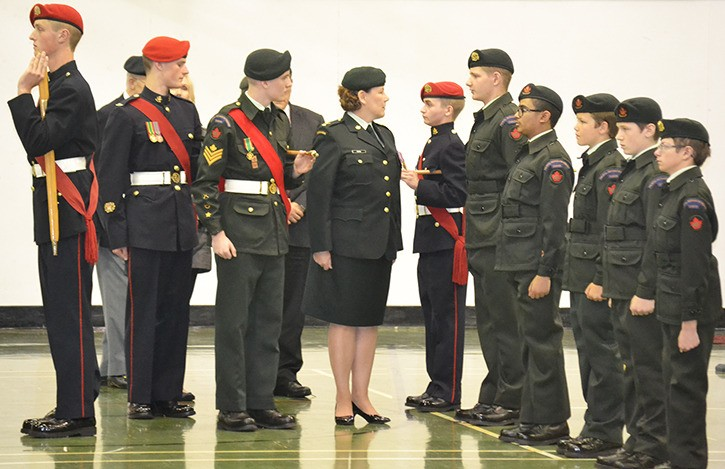 Reviewing Officer Major Kathy Kopan led the inspection of the 1922 Royal Westminster Regiment Royal Canadian Army Cadet Corps. The 73rd annual ceremonial review was conducted Saturday, May 28 at the cadet training centre at NRS Aldergrove.