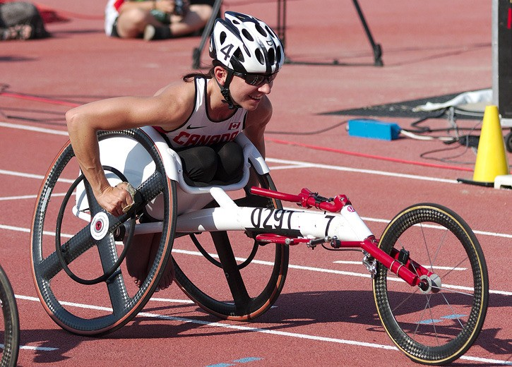 Parksville-Qualicum MLA Michelle Stilwell after winning the 100m gold medal at the Paralympic World Championships in Lyon, France, July 2013.