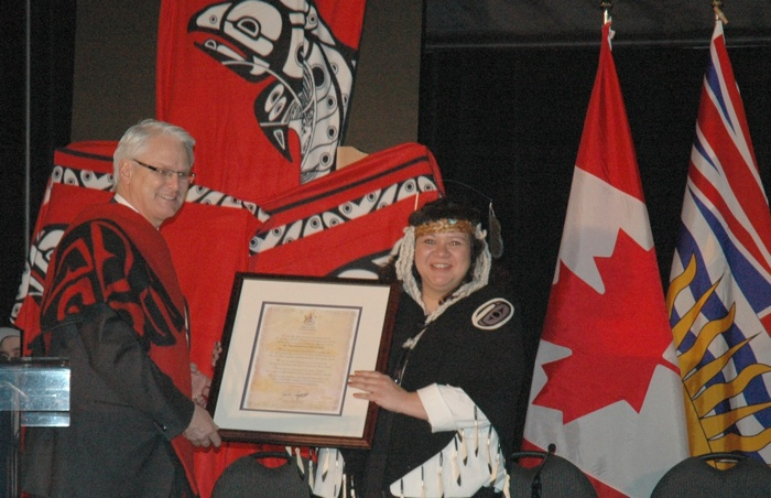 The Tsawwassen First Nation is so far the only aboriginal group to conclude a treaty in the Lower Mainland. That's then-Premier Gordon Campbell with TFN Chief Kim Baird at the ceremony of the treaty's effective date in April, 2009.