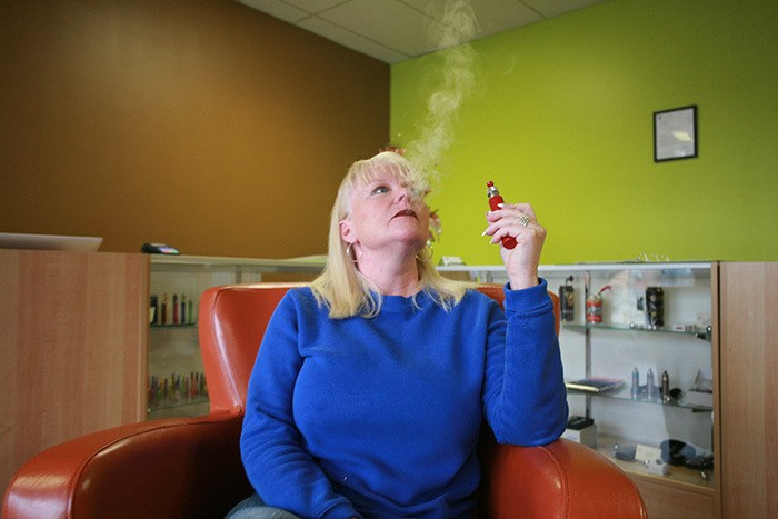 Nadine Brousseau owns retail outlets in Victoria that sell e-cigarette products. The devices are widely available even though they are not authorized for sale in Canada.