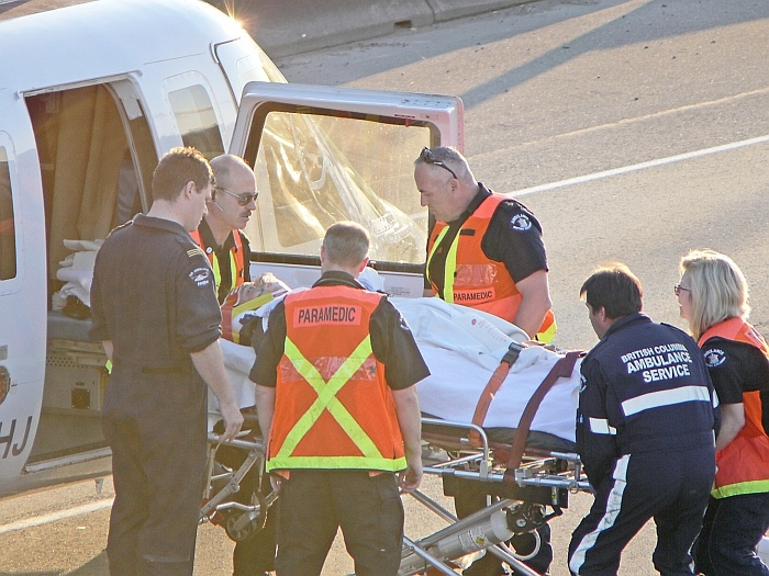 An air ambulance was called in to evacuate a victim of a multi-vehicle crash Friday night on Hwy. 1 near the 264 St. overpass in Aldergrove.